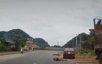 Xe máy sang đường không quan sát bị ô tô đâm trúng